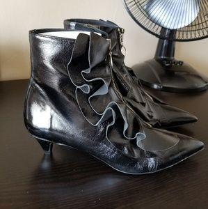 Zara leather kitten booties NWT